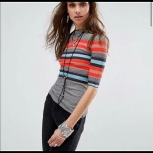 Euc Free people donna striped turtleneck baby t